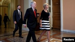 Senate Majority Leader Mitch McConnell leaves the Senate floor following a health care vote on Capitol Hill in Washington, July 26, 2017.