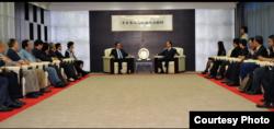台湾海基会董事长林中森和前海协会会长陈云林进行会晤 (海基会提供)