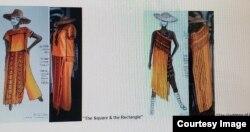 Tiga dari rancangan Melanie dengan warna kunyit (courtesy: Melanie).