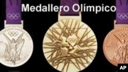 """Medali yang diperebutkan di Olimpiade London 2012 (Foto: dok). Media pemerintah Korut mengecam surat kabar Australia atas penyebutan """"Korea Nakal"""" di media tersebut saat memberitakan penghitungan perolehan medali Olimpiade 2012."""