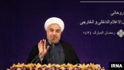 Konferensi pers pertama Presiden baru Iran, Hassan Rouhani (6/8).