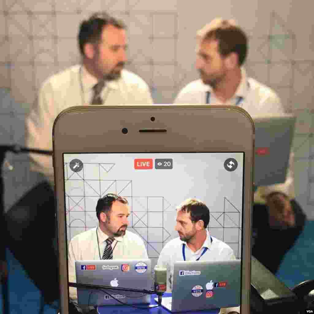 VOA Eurasia Division's Bratislav Djordjevic (L) and Alen Mlatisuma (R) reporting from the DNC in Philadelphia.