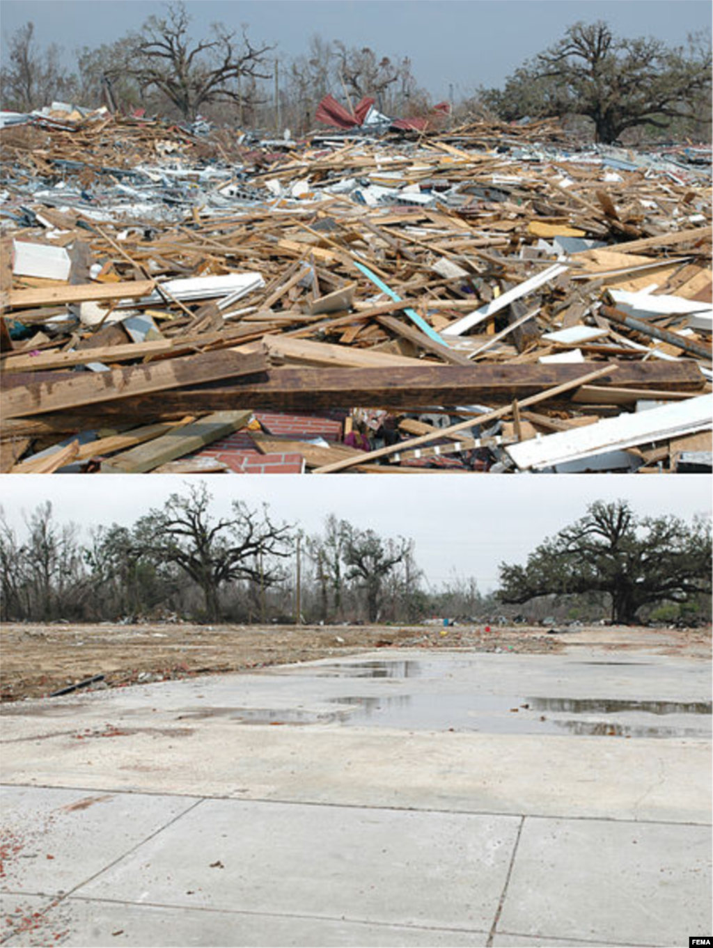 The debris from Pass Christian Middle School before and after cleanup. The school was destroyed by Hurricane Katrina, Pass Christian, Mississippi, Sept. 14, 2005 and Dec. 6, 2005. (Mark Wolfe/FEMA)