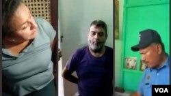 La familia integrada por Diego Reyes, María Eugenia Alonso y Diego Reyes Alonso Jr. denunciaron que fueron obligados por la Policía de Nicaragua a videograbarse diciendo consignas sandisnistas. Collage. Fotos: Daliana Ocaña/VOA.