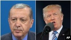 Presiden Amerika Serikat Donald Trump (kanan) dan Presiden Turki Recep Tayyip Erdogan.