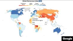 Chỉ số Dân chủ 2019 của Economist Intelligence Unit. Việt Nam xếp hạng 136/167 nước được khảo sát.