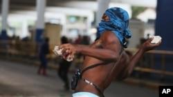 Protestos na Central de Transportes do Rio de Janeiro