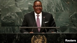 FILE - Malawi President Peter Mutharika, shown addressing the United Nations General Assembly in New York, Sept. 20, 2016, offered his country answers to its food shortage during a speech to the nation, Nov. 21, 2016.