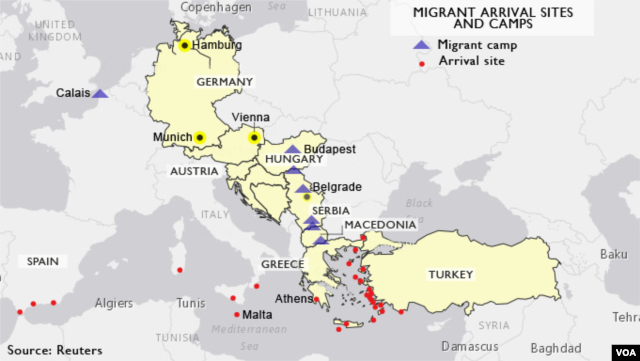 Migrant arrival points and encampments across Europe.