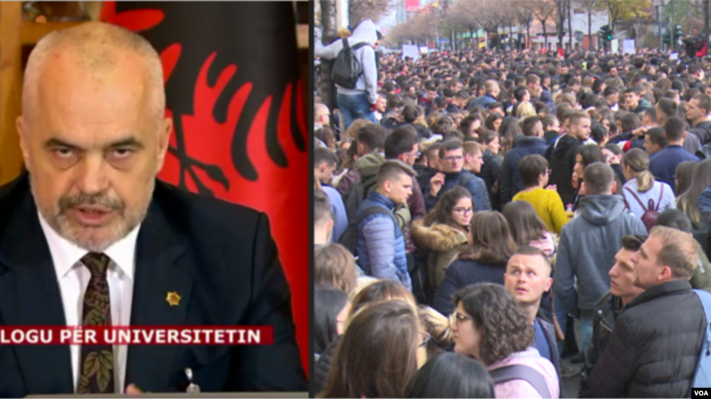 Tiranë: Dita e gjashtë e protestës studentore. Kryeministri Rama mban fjalim një orë në Facebook
