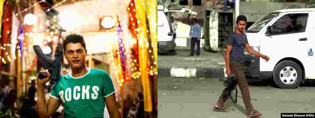 """រូបឆ្វេង៖ លោក Mahmoud Youssef អាយុ២២ឆ្នាំ ដែលធ្វើការជាអ្នកដឹកជញ្ជូនទំនិញជូនអតិថិជនក្នុងផ្សារទំនើបមួយក្នុងរដ្ឋធានីគែរ និងកាន់កាំភ្លើងយន្តស្វ័យប្រវត្តិអំឡុងពិធីមង្គលការរបស់បងប្រុសនៅខេត្ត Fayoum ភាគខាងលើប្រទេសអេហ្ស៊ីប បានប្រាប់VOA ថា៖ """"យើងមិនប្រើប្រាស់កាំភ្លើងនេះដើម្បីប្រយុទ្ធទេ យើងយកមកប្រើប្រាស់តែនៅក្នុងពិធីមង្គលការ និងពិធីផ្សេងៗប៉ុណ្ណោះ។ កាំភ្លើងនេះគ្រាន់តែទុកសំញ៉ែងគេថាយើងមានអាវុធ ធ្វើអីចឹងនឹងមិនមាននរណាមកបង្កបញ្ហាជាមួយយើងទេ""""។ រូបស្តាំ៖ អ្នកគាំទ្ររដ្ឋាភិបាលម្នាក់ លើកបង្ហាញកាំភ្លើងស្វ័យប្រវត្តិក្នុងស្រុក Kerdasa ក្នុងតំបន់ Giza បន្ទាប់ពីប៉ុស្តិ៍ប៉ូលិសត្រូវបានអ្នកគាំទ្រអតីតប្រធានាធិបតីដែលត្រូវបានបណ្តេញចេញពីអំណាចលោក Mohamed Morsi ដោយមានកាំភ្លើងផ្លោងត្រយោងចេកដែលជាអាវុធធុនធ្ងន់មួយបែប។"""