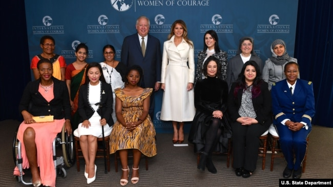 First Lady Melania Trump and Under Secretary Tom Shannon Pose for a photo with the 2017 International Women of Courage Awardees.