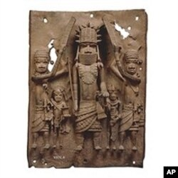 Brass plaque showing the Oba of Benin with attendants (16th Century Benin Bronzes from Edo peoples of Benin, Nigeria)