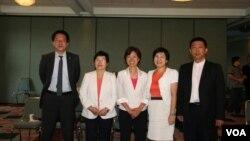 台湾立委访美团成员,左起邱志伟、陈节如、尤美女、黄文玲、许智杰(照片来源: 钟辰芳)