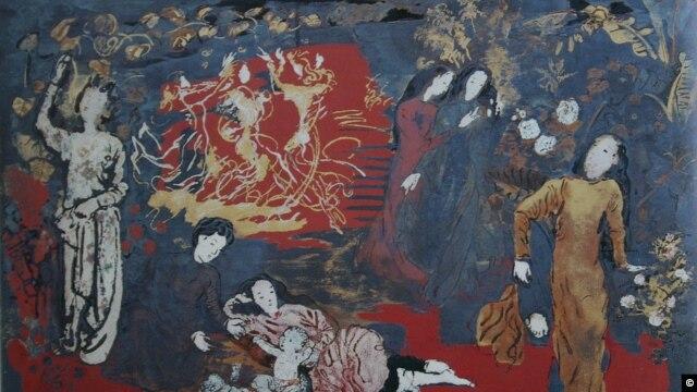 Những thiếu nữ trong vườn, 1957 / 100 x 64 cm