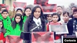 Erika Andiola llegó hasta el Congreso para exponer sus peticiones y la necesidad de que el Congreso apruebe una reforma de inmigración.