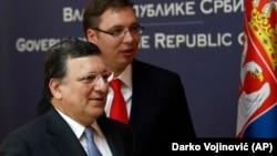 Bivši predsednik Evropke komisije Žoze Manuel Barozo u društvu premijera Srbije Aleksandra Vučića prilikom poslednje posetu Beogradu dok je bio na položaju