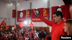 Nicolas Maduro lors d'une rencontre les membres du parti communiste à Caracas, au Venezuela le 26 février 2018. Miraflores Palace/ REUTERS