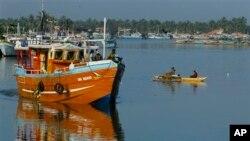 Des pécheurs au port de Negombo, Sri Lanka