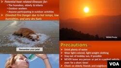 美国政府给民众的热浪警告宣导。