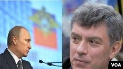 普京(左)和涅姆佐夫