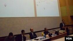 香港教協研討會談基本法新教材爭議,並探討基本法起草過程、一國兩制的實踐等問題。(美國之音湯惠芸拍攝)