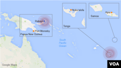 Approximate locations of two earthquakes in the South Pacific