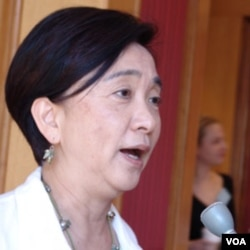 香港议员、民主党人刘慧卿(Emily Lau)(2009年9月10日,美国之音木风拍摄)