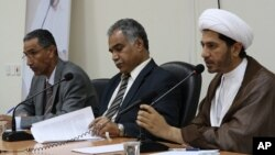 Opposition leaders (from left to right) Mahmood al-Rajab, Radhi Mohsen al-Mosawi and Sheikh Ali Salman.