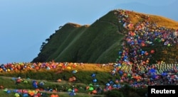 More than 15,000 campers from around the world attended an international camping festival in Jiangxi province, China, September 2013.