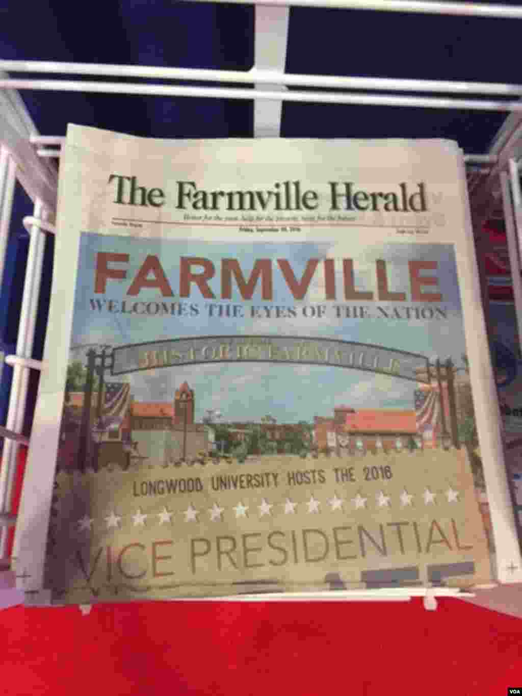 The vice presidential debate is the only story on the front page of the local newspaper in Farmville, Virginia. (K.Gypson/VOA)