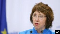 ທ່ານນາງ Catherine Ashton ຜູ້ຕາງໜ້າລະດັບສູງຂອງອີຢູ ຮັບຜິດຊອບກິດຈະການຕ່າງປະເທດແລະນະໂຍບາຍຄວາມໝັ້ນຄົງ.