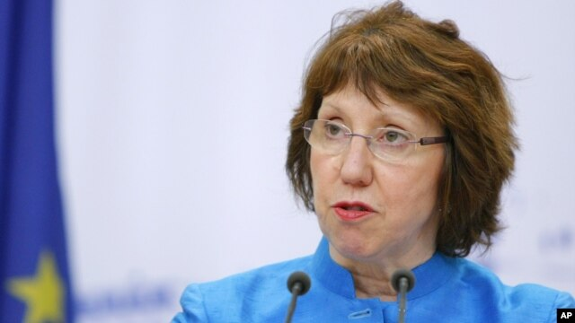 EU foreign policy chief Catherine Ashton speaks during a news conference after discussions on the controversial Iranian nuclear program in Moscow, June 19, 2012.