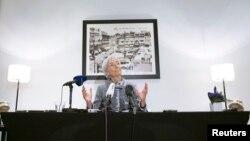 12일 벨기에 브뤼셀에서 크리스틴 라가르드 IMF 총재가 우크라이나 재정 지원 결정에 관련하여 기자회견을 하고 있다.