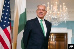 FILE - Pakistani Foreign Minister Khawaja Asif is pictured during a meeting with Secretary of State Rex Tillerson at the State Department in Washington, Oct. 4, 2017.