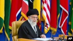 FILE - Iran's supreme leader Ayatollah Ali Khamenei delivers a speech in Tehran, Iran, Feb. 21, 2017.