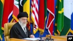 Iran's Supreme Leader Ayatollah Ali Khamenei delivers a speech at a conference in Tehran, Iran, Feb. 21, 2017.