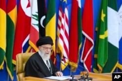 FILE - Iran's supreme leader Ayatollah Ali Khamenei in Tehran, Iran, Feb. 21, 2017.