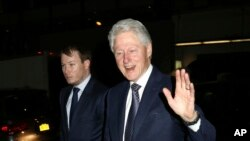 "Former President Bill Clinton attends the Broadway musical ""In Transit,"" at Circle in the Square Theatre, Feb.1, 2017, in New York."