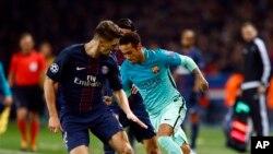 Le PSG contre le Barça lors du match remporté par Paris, au parc des Princes, le 14 février 2017.