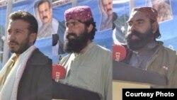 بلوچ عسکری کمانڈر کوئٹہ میں ایک تقریب میں حکومتی عمل داری تسلیم کرنے اور ہتھیار رکھنے کا اعلان کر رہے ہیں۔ 9 دسمبر 2017
