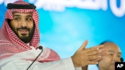 "FILE - Saudi Crown Prince Mohammed bin Salman speaks at the opening ceremony of Future Investment Initiative Conference in Riyadh, Saudi Arabia, Oct. 24, 2107. Saudi Arabia's crown prince has promised to return the ultraconservative kingdom to a more ""moderate"" Islam."