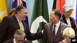 2018年8月4日第25届东盟会议:美国国务卿彭佩奥(左)和朝鲜外务相李勇浩会面