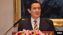 英九總統3月23日召開中外記者會的資料照。 (美國之音申華拍攝)