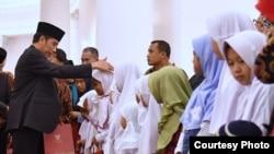 Presiden Joko Widodo menggelar peringatan Maulid Nabi Muhammad SAW di Istana Bogor, Kamis 30 November 2017 dengan mengundang. anak-anak yatim. (Foto: Biro Pers Istana).