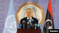 FILE - The U.N. envoy for Libya, Ghassan Salame, speaks during a news conference in Tripoli, Libya, April 6, 2019.