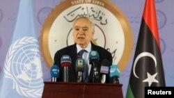 Utusan khusus PBB untuk Libya, Ghassan Salame, berbicara dalam konferensi pers di Tripoli, Libya.