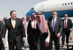 Mike Pompeo llega el martes 16 de octubre de 2018 a Arabia Saudí.