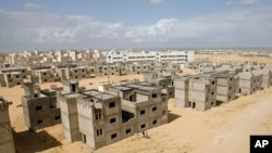 Unfinished buildings at the UNRWA housing project in Khan Younis, southern Gaza Strip, March 9, 2011.