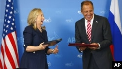 Хиллари Клинтон и Сергей Лавров. Владивосток. 8 сентября 2012 г.